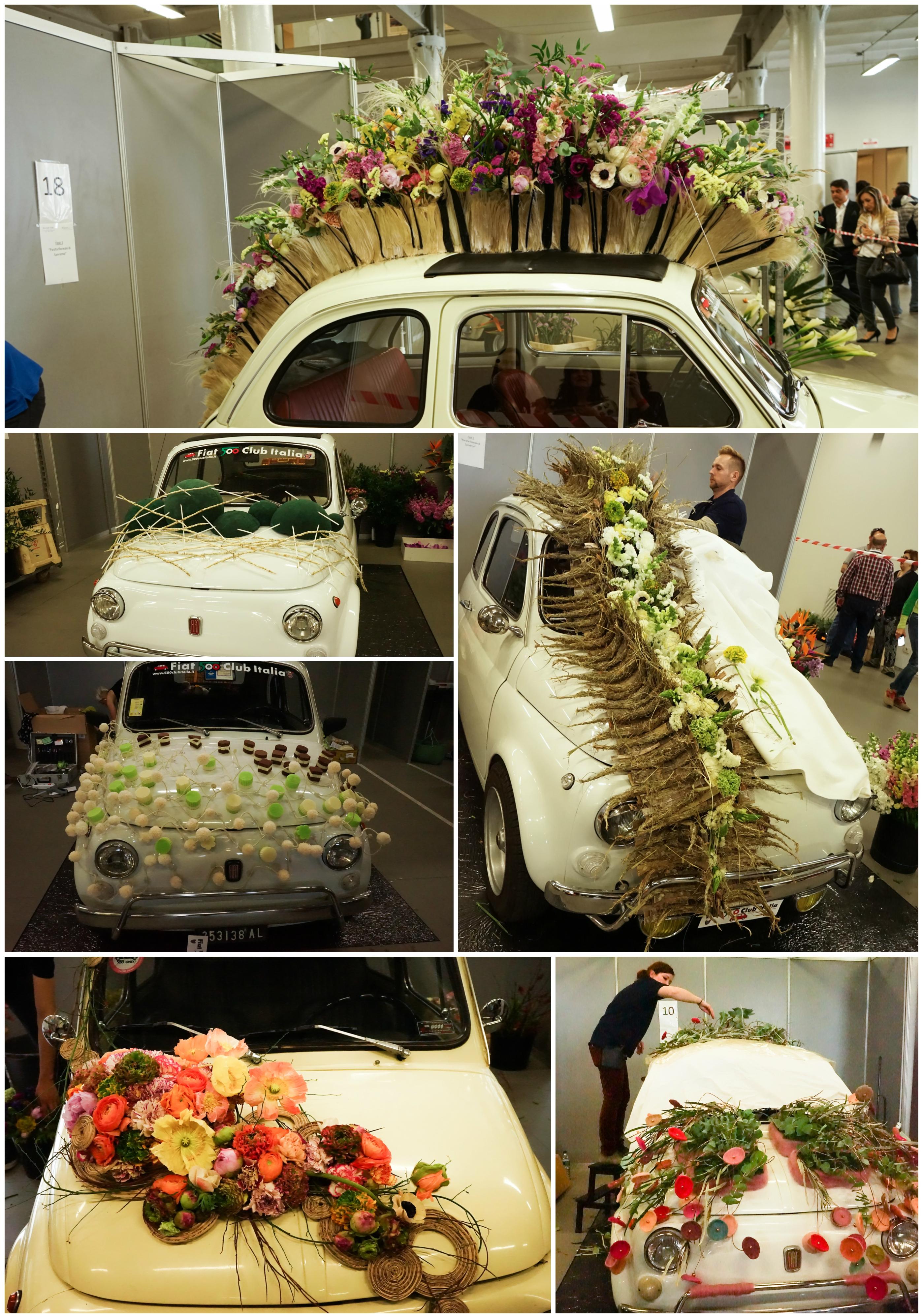 Decoratiune florala masina