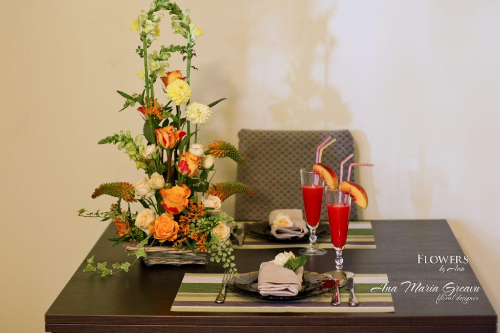Aranjament floral trandafiri knipfa