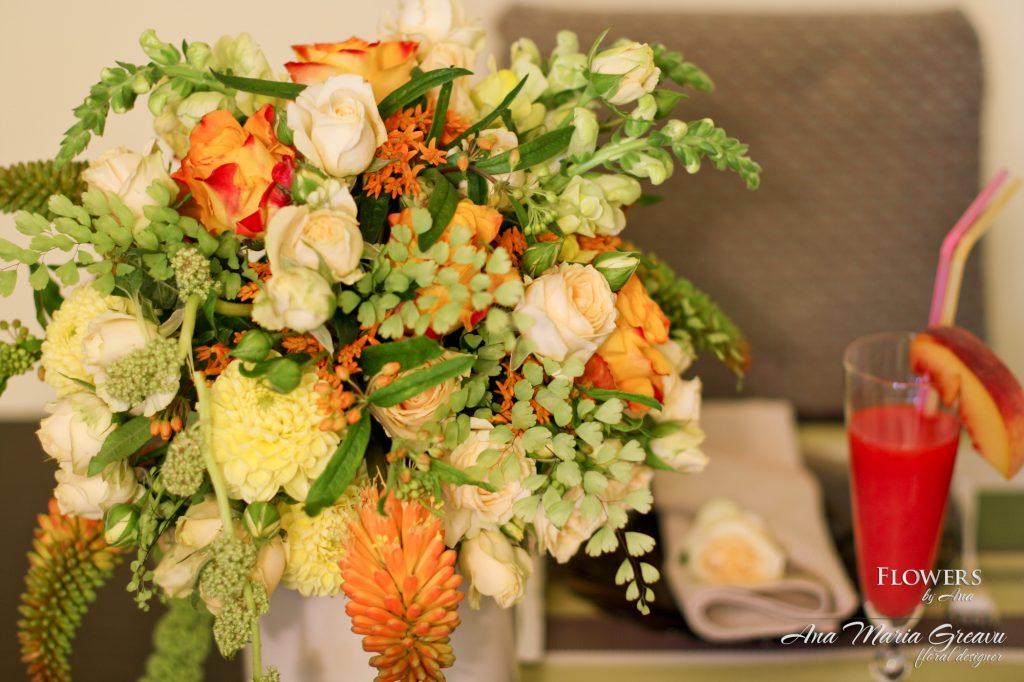Aranjament floral masa - detaliu