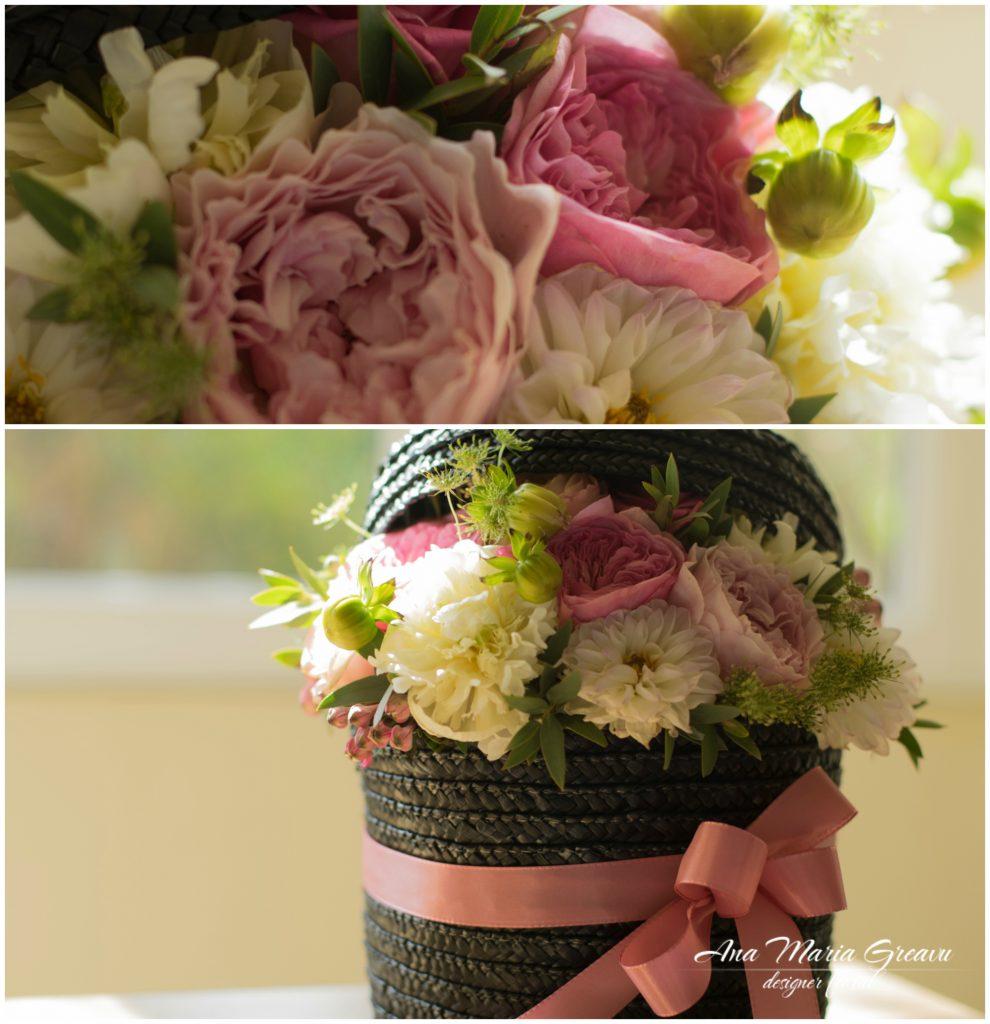Cutie florala cu trandafiri David Austin si Dalii