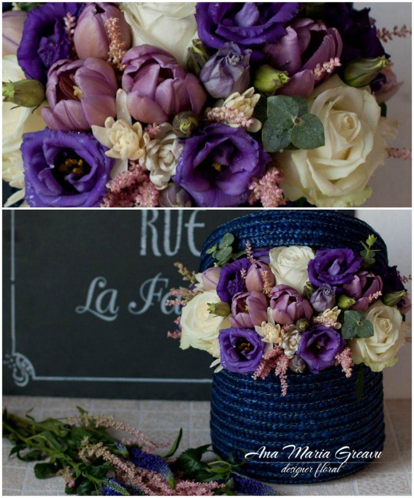 Cutie florala cu trandafiri si lisianthus