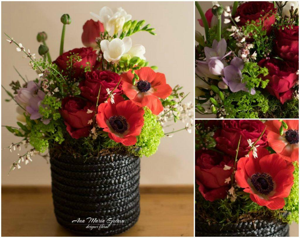 Cutie florala cu anemone, trandafiri, frezii