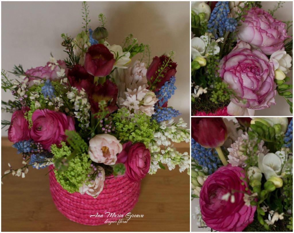Cutie florala cu ranunculus, lalele, liliac