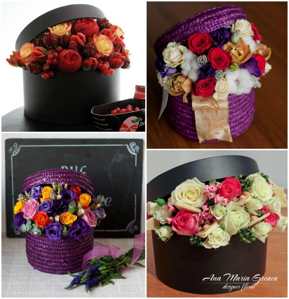 Cutii florale cu coacaze, ciocolata,spice, bumbac